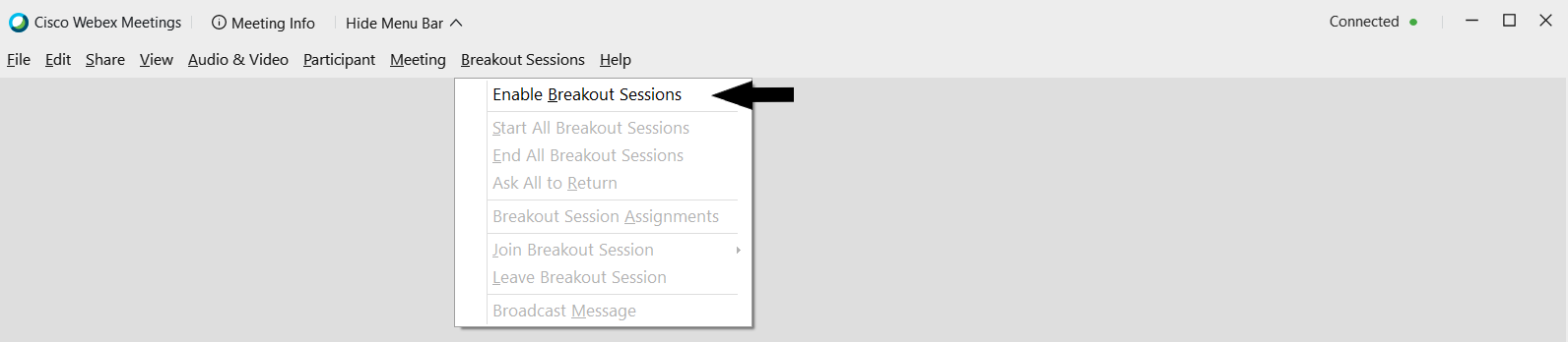 WebEx Menu showing enable breakout session