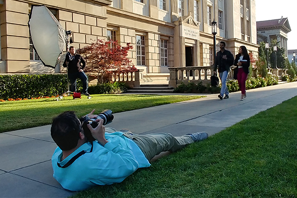 Photographer on a campus shoot